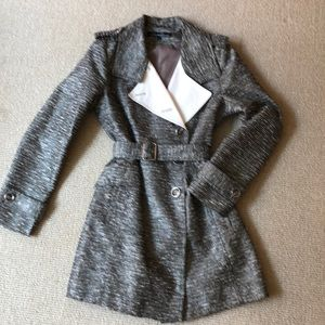 Kenneth Cole gray/silver double breasted trench